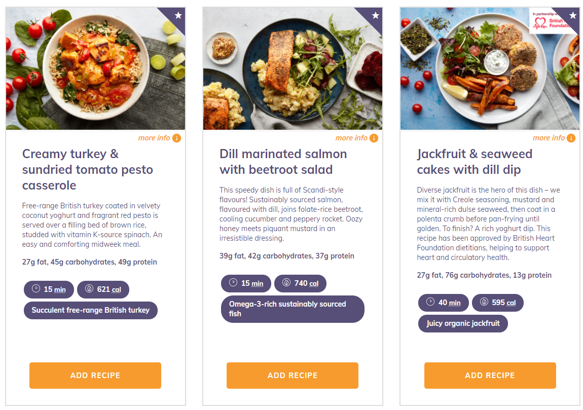 A screenshot of the some of the meals available on this week's Mindful Chef menu